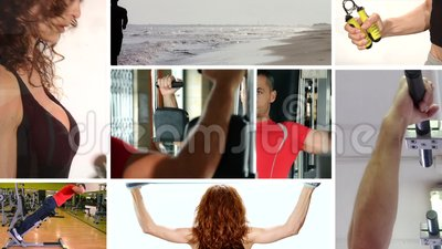 Joy, fitness, beauty. Fitness, wellness and healthy collage stock video footage