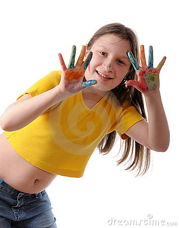 Joy. Preteen girl playing with colors
