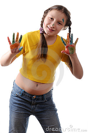 Free Joy. Preteen Girl Playing With Colors Stock Photos - 11982713