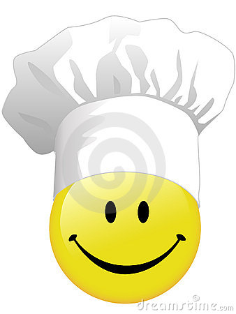 Joy of smiley face cooking in happy chef hat