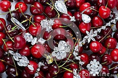 Joyas en las cerezas