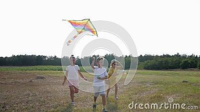 Joyeuse enfance, amis joyeux, enfants qui courent autour de se débarrasser du cerf-volant dans le ciel tout en se relaxant dans l banque de vidéos