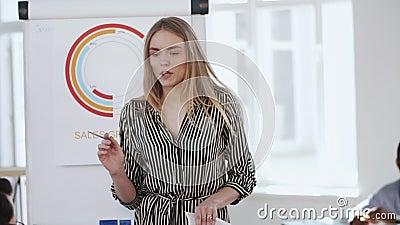 Joyeuse jeune patronne femme d'affaires qui dirige une discussion d'équipe active au bureau branché, concept de travail sain banque de vidéos