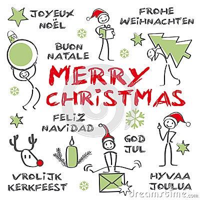 Joyeux Noël, carte de Noël multilingue