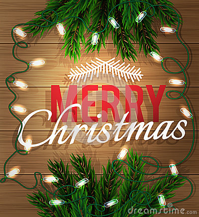 Idee Deco sapin guirlande : Joyeux Noël Branche De Sapin Avec Une Guirlande Lumineuse Sur Un ...