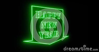 Joyeux signe du Nouvel An en néon pour célébrer une fête festive - 4k illustration stock