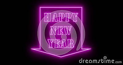 Joyeux signe du Nouvel An en néon pour célébrer une fête festive - 4k illustration de vecteur