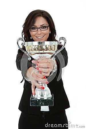 Free Joyfu Female Entrepreneur Holding A Trophy Stock Photo - 20186870