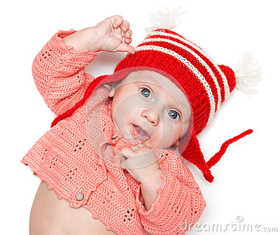 Joyful baby in a hat