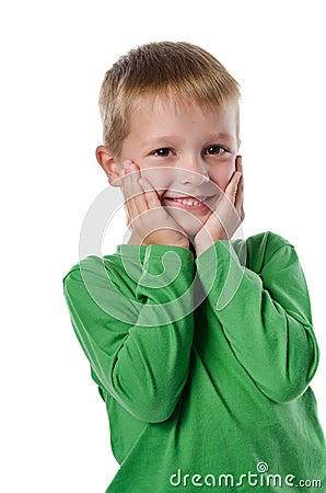 Joyful beautiful little boy
