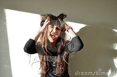 Joyful beautiful woman laughing