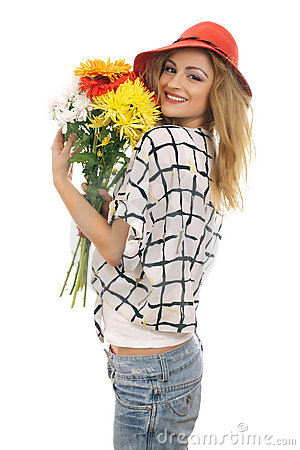Joyful blonde model with a bouquet of flowers 3