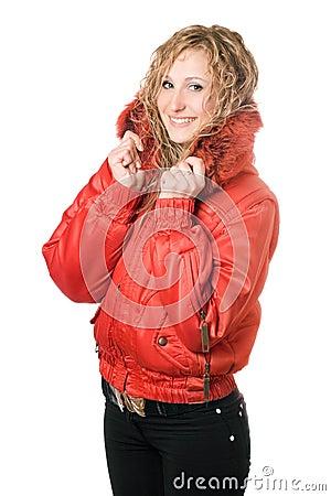 Joyful blonde in red jacket