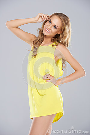 Joyful Blonde Woman In A Miniskirt Royalty Free Stock Images - Image: 28744259