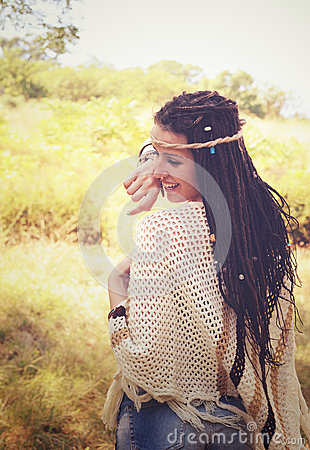 Free Joyful Boho Style Girl Portrait, Dressed In Knitted Poncho And Headband Have A Fun Against Sunny Autumn Park, Royalty Free Stock Photography - 76381657