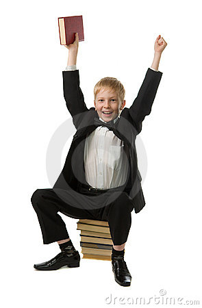 Joyful boy with the book.