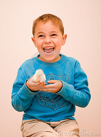 Free Joyful Boy Holding Baby Chick Royalty Free Stock Photography - 13742887