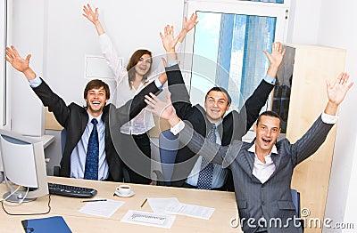 Joyful business team in office