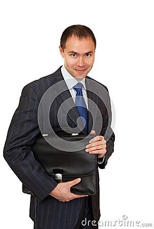 Joyful businessman with a briefcase.
