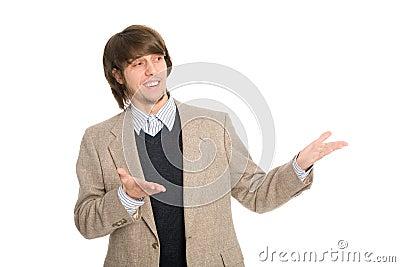 Joyful businessman pointing hands