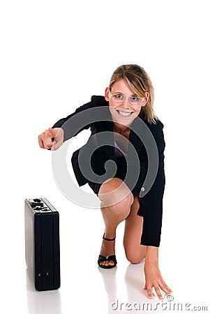 Joyful businesswoman