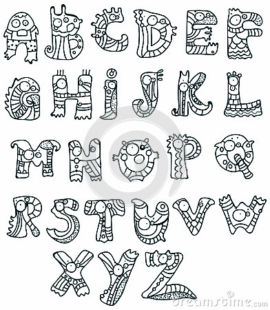 Z Alphabet Designs ... - from A to Z, monster hand drawn letter, funny Alphabet for Design