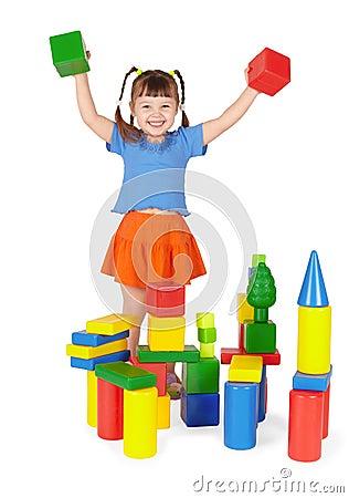 Joyful child - builder on white background