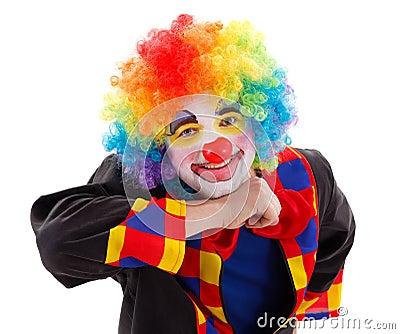 Joyful clown prop in air