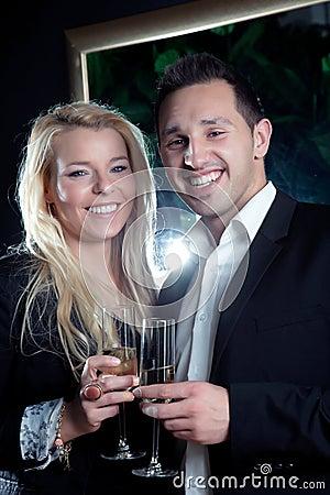 Joyful couple celebrating a special moment