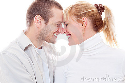 Joyful couple in love