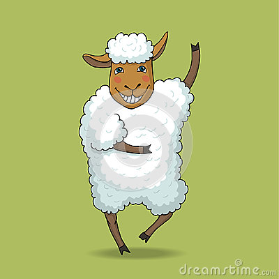 Free Joyful Dancing Sheep Stock Photography - 48883622