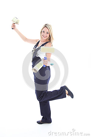 Joyful DIY woman decorator