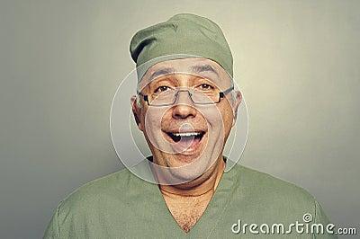 Joyful doctor in uniform