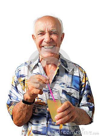 Laughing Elderly Man with Coctail