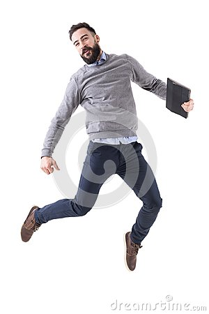 Free Joyful Excited Young Businessman Celebrating Success And Jumping Stock Photos - 109978453