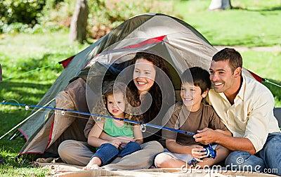 Joyful family fishing