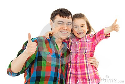 Joyful father with daughter showing thumbs up