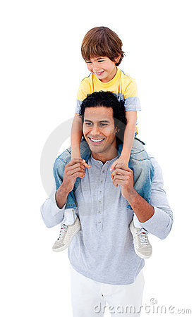 Joyful father giving piggyback ride to his son