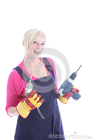 Joyful female worker