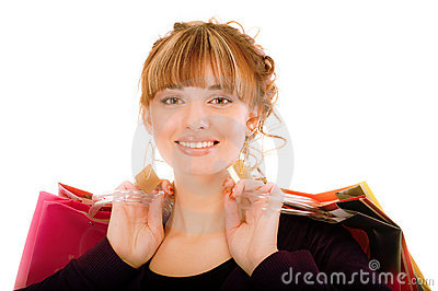 Joyful girl with buying