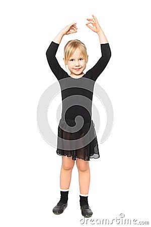 Joyful girl doing aerobics