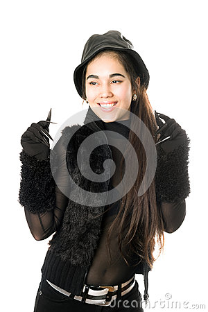 Joyful girl in gloves with claws. Isolated