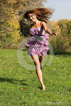 Joyful girl having fun