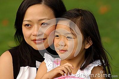 Joyful girl and her mom