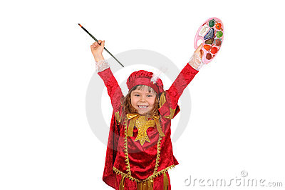 Joyful girl in historical suit with a palette