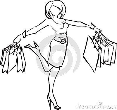 Joyful girl with purchases