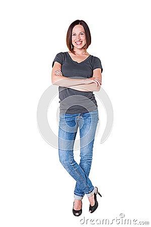 Joyful girl smiling and standing