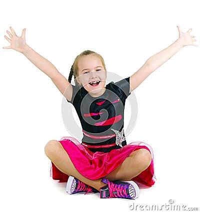 Joyful girl on a white background