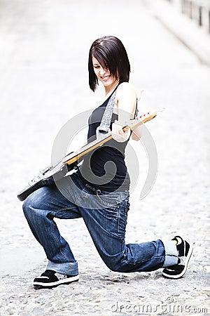 Joyful guitarist