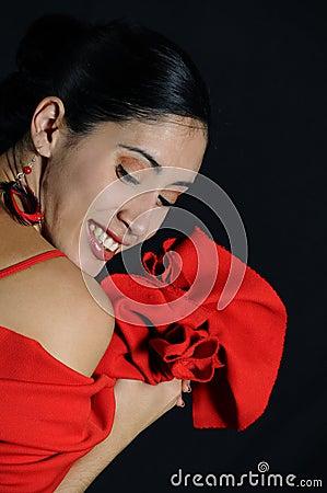 Joyful hispanic woman